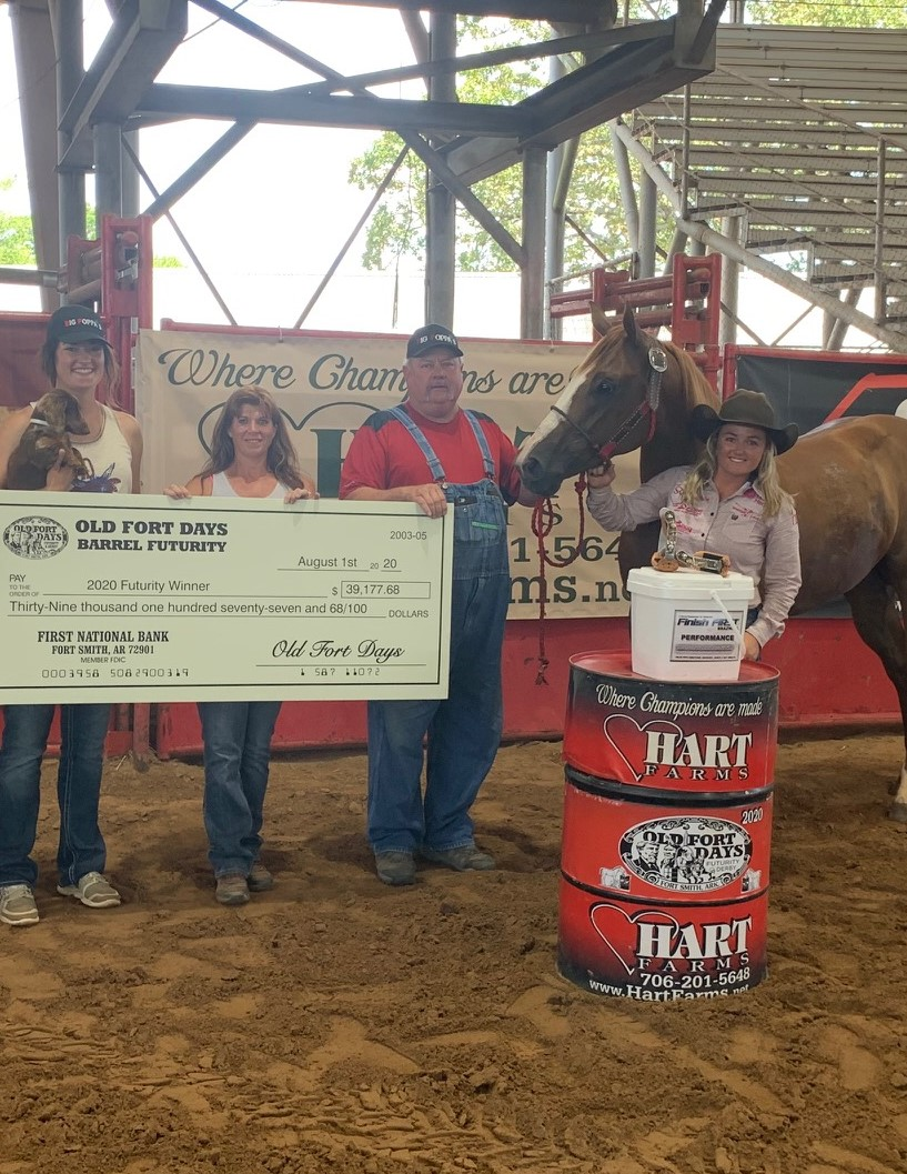 Kelsey Lutjen-Treharne and VF Cream Rises win the Old Fort Days Futurity, Omega Fields Spokesperson, Kelsey Lutjen-Treharne and VF Cream Rises win the Old Fort Days Futurity by 3/10ths earning $39,178