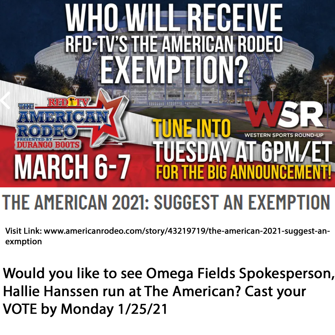 The American 2021 Exemption, Vote for Omega Fields spokesperson Hallie Hanssen for The American 2021 Exemption- Voting ends Monday 1/25/21
